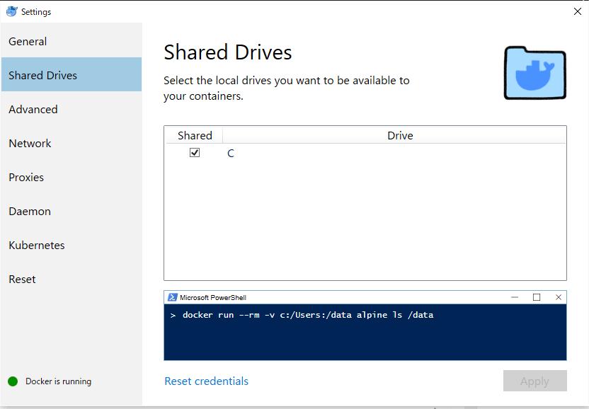 Docker Shared Drivesタブ