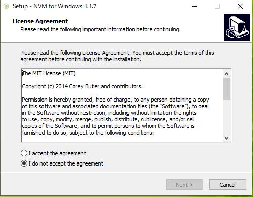 NVM Windows Setup ライセンス契約