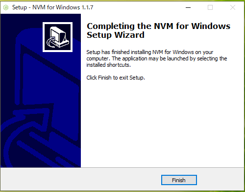 NVM Windows インストール終了